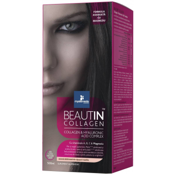Beautin Collagen Lichid Advanced cu Magneziu, Acid Hialuronic, vitamina A, complexul B, vitamina C si Zinc - 500ml