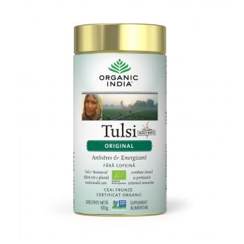 Ceai Tulsi (Busuioc Sfant) Original - Antistres Natural & Energizant, Fara cofeina, 100% Certificat organic,100gr