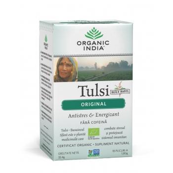 Ceai Tulsi Original - Antistres Natural & Energizant , 100% Certificat Organic, Fara cofeina,18 Plicuri
