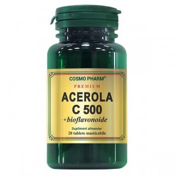 Vitamina C 500mg Naturala din Acerola cu Bioflavonoide, Promotie 2 X 20 tablete masticabile