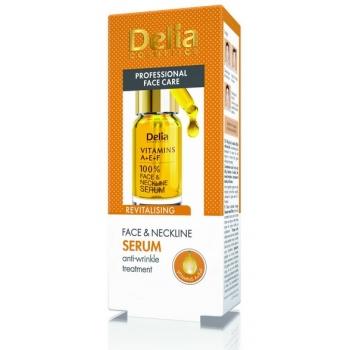 Ser intensiv antirid pentru fata si decolteu - Vitaminele A, E, F + Q10, 10 ml, Delia Cosmetics