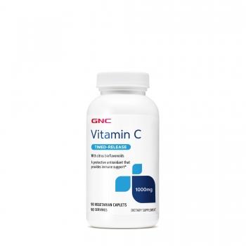 GNC Vitamina C 1000mg cu Bioflavonoide si Macese - Eliberare Prelungita, 90 tablete vegetariene